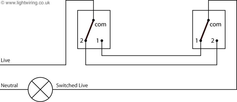 2 way lighting circuit diagram light wiring two way light switching schematic using a two wire control