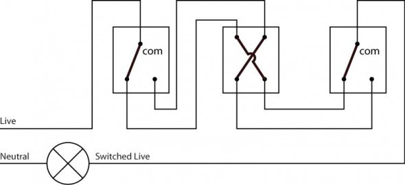 3 way light switch schematic diagram using a two wire control