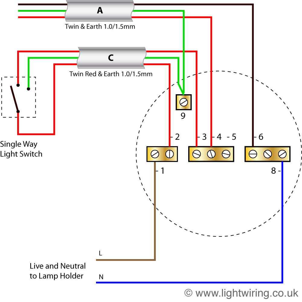 radial circuit light wiring diagram (old colours) light wiring wiring 2 switches to 1 light radial circuit last ceiling rose (old colours)