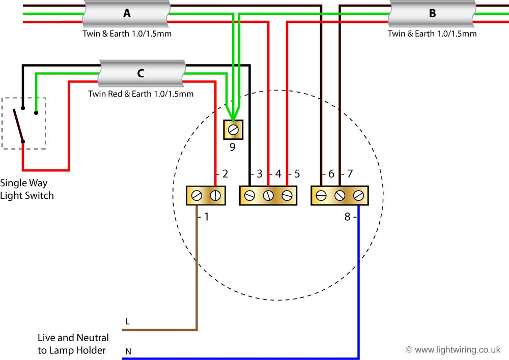 lighting wiring diagram light wiring ceiling rose old cable colours