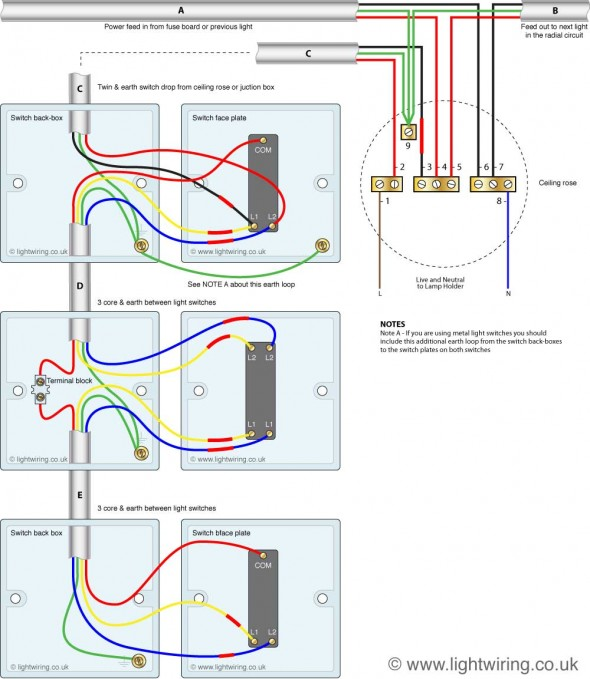 Three way light switching circuit diagram (old cable colours)