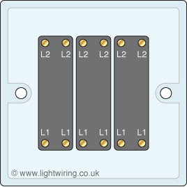 Triple gang intermediate light switch