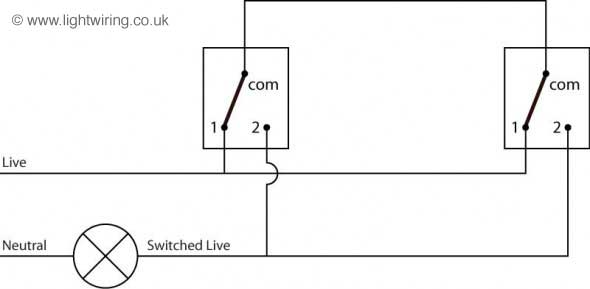 Two way switching schematic wiring diagram (3 wire control)
