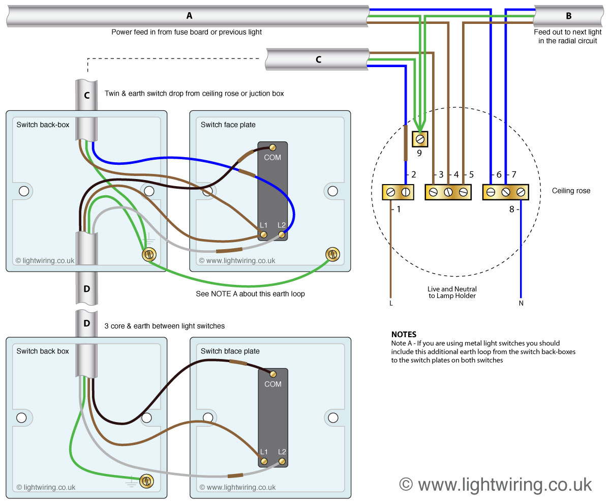 two way switching wiring diagram 2 way switch (3 wire system, new harmonised cable colours) light Light Switch Wiring Diagram at soozxer.org